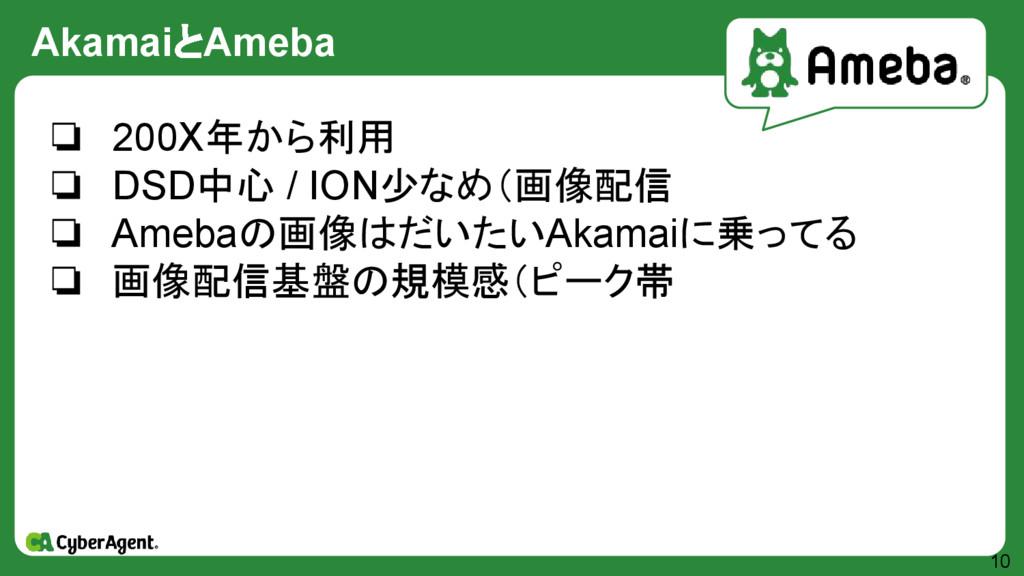 AkamaiとAmeba 10 ❏ 200X年から利用 ❏ DSD中心 / ION少なめ(画像...