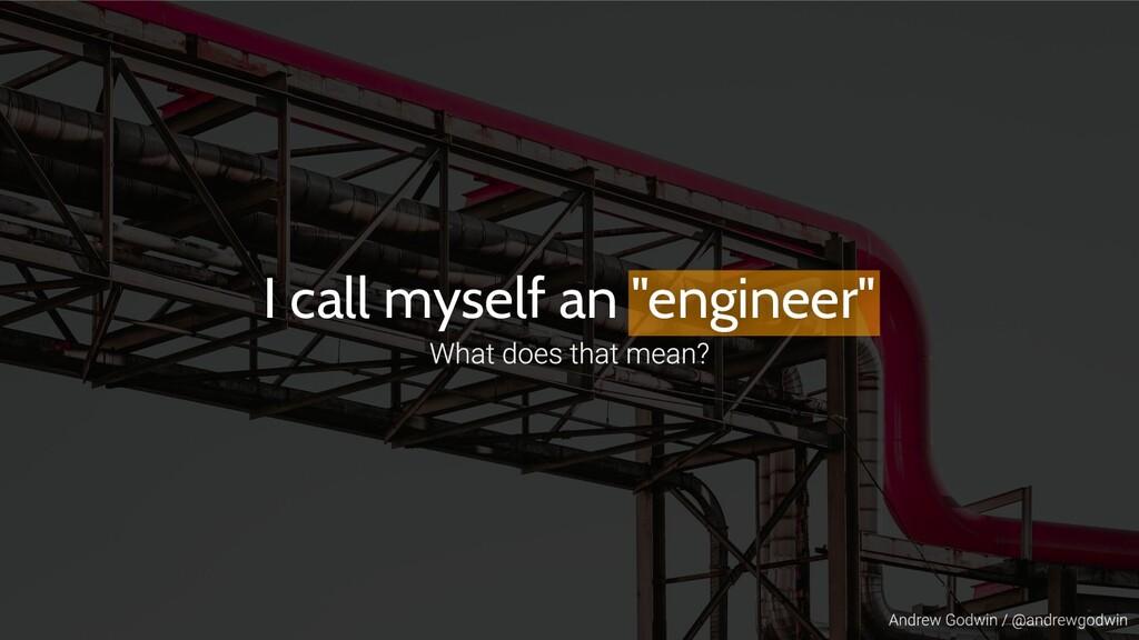 """I call myself an """"engineer"""""""