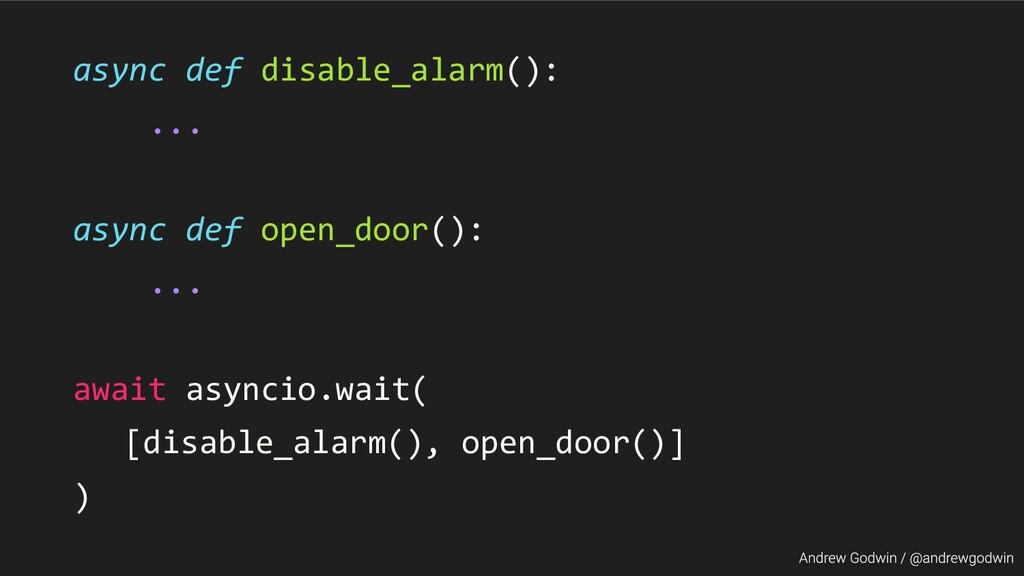 async def disable_alarm(): ... async def open_d...