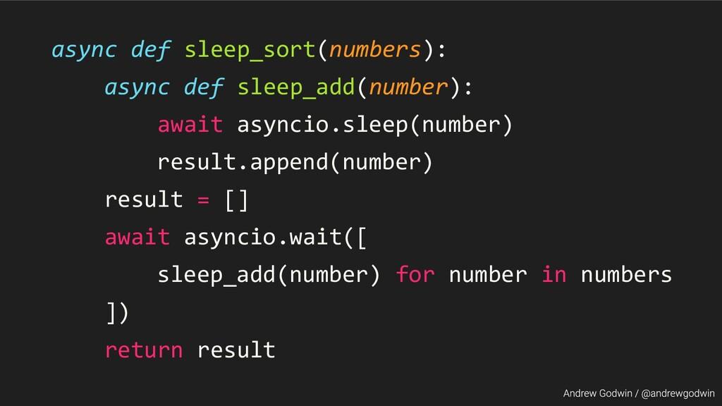 async def sleep_sort(numbers): async def sleep_...
