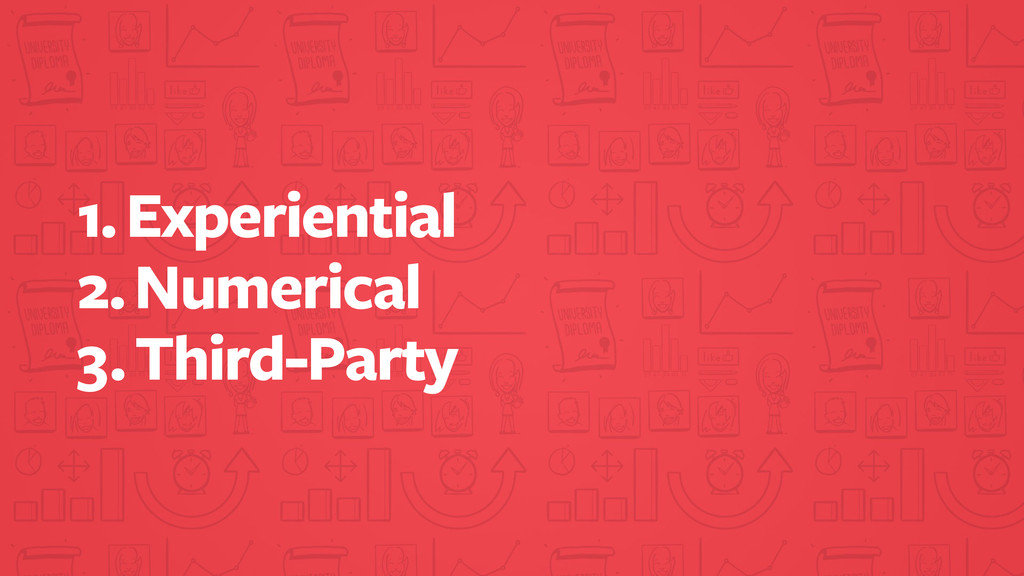 1. Experiential 2. Numerical 3. Third-Party