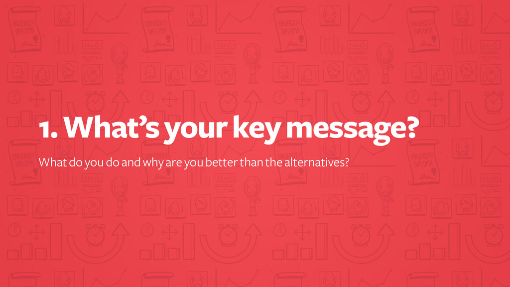 1. What's your key message? What do you do and ...