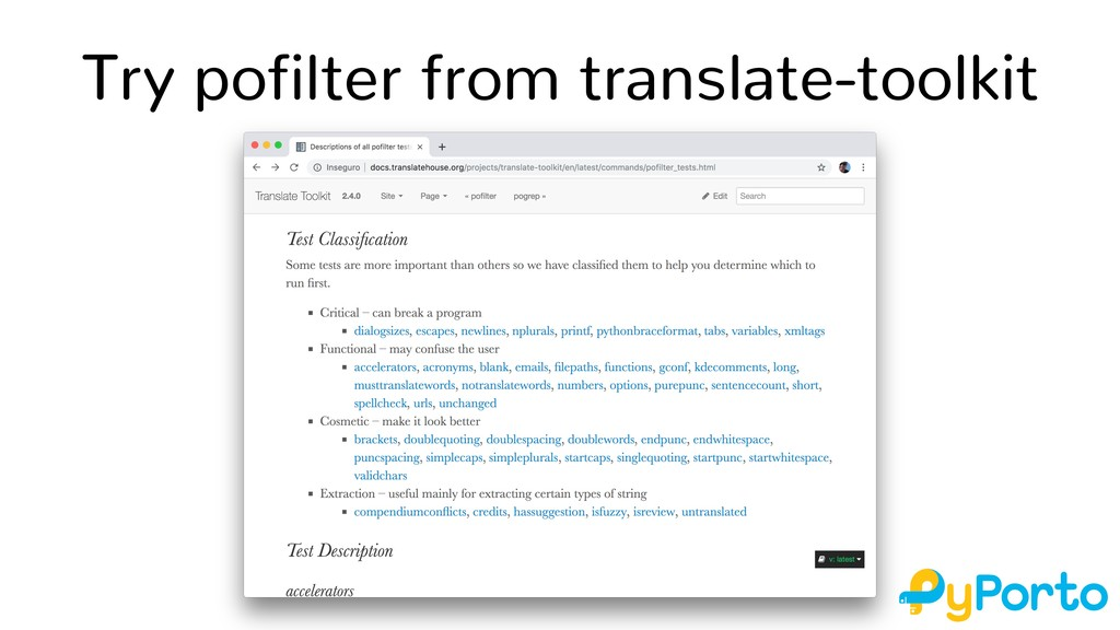 Try pofilter from translate-toolkit