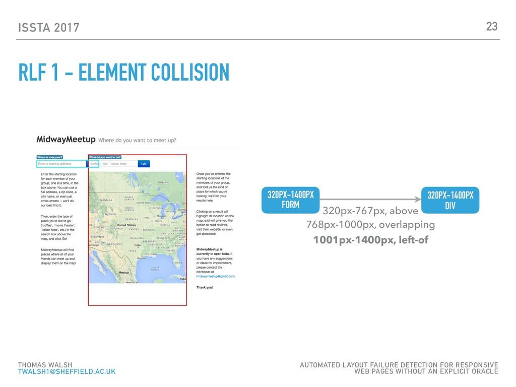 ISSTA 2017 RLF 1 - ELEMENT COLLISION 23 THOMAS ...