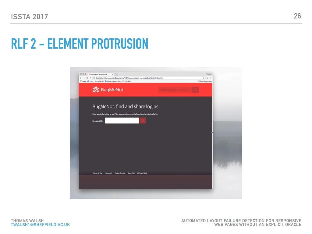 ISSTA 2017 RLF 2 - ELEMENT PROTRUSION 26 THOMAS...