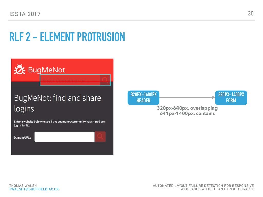 ISSTA 2017 RLF 2 - ELEMENT PROTRUSION 30 THOMAS...
