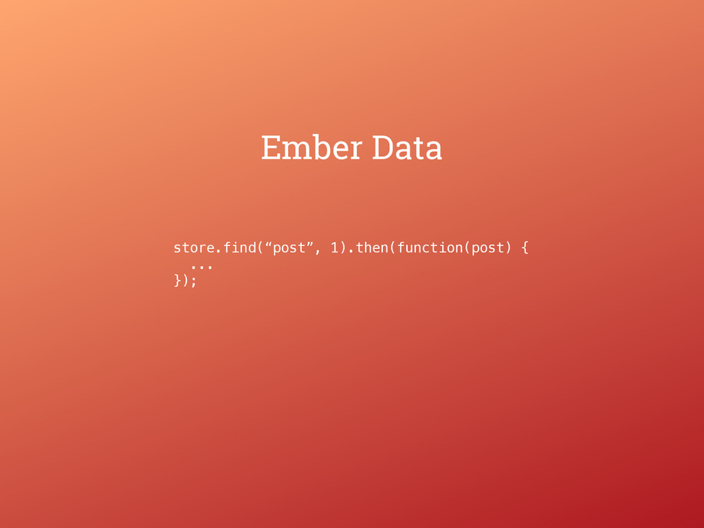 """Ember Data store.find(""""post"""", 1).then(function(..."""
