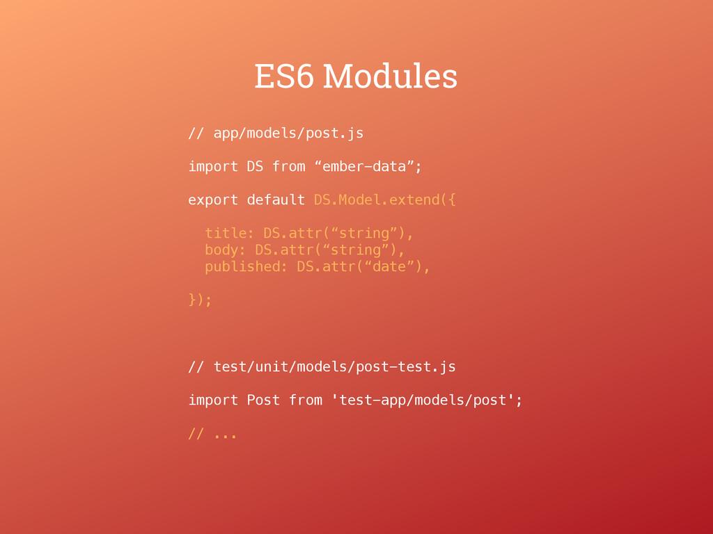 ES6 Modules // app/models/post.js import DS fro...