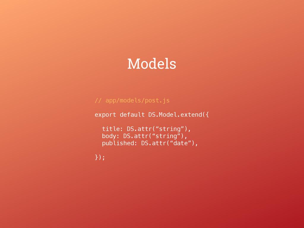 Models // app/models/post.js export default DS....