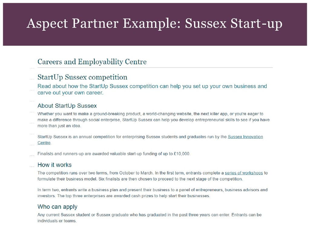 Aspect Partner Example: Sussex Start-up
