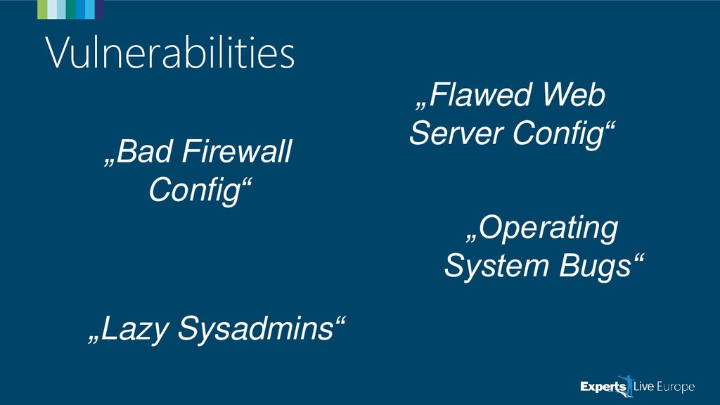 "Vulnerabilities ""Bad Firewall Config"" ""Operatin..."