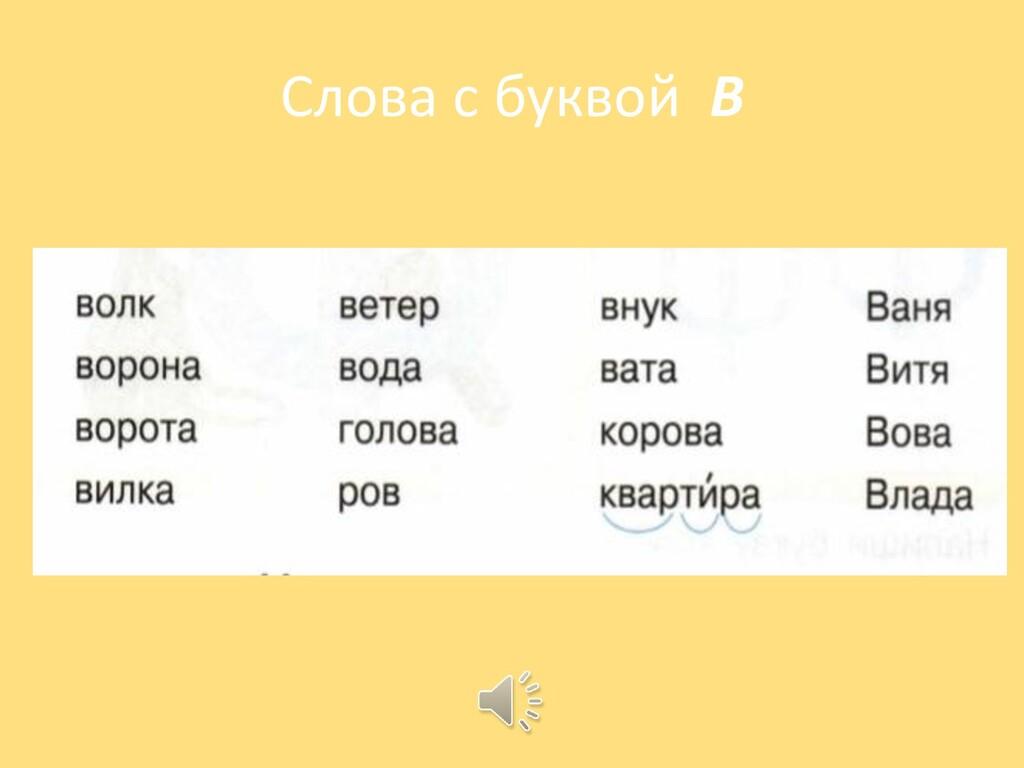 Слова с буквой В