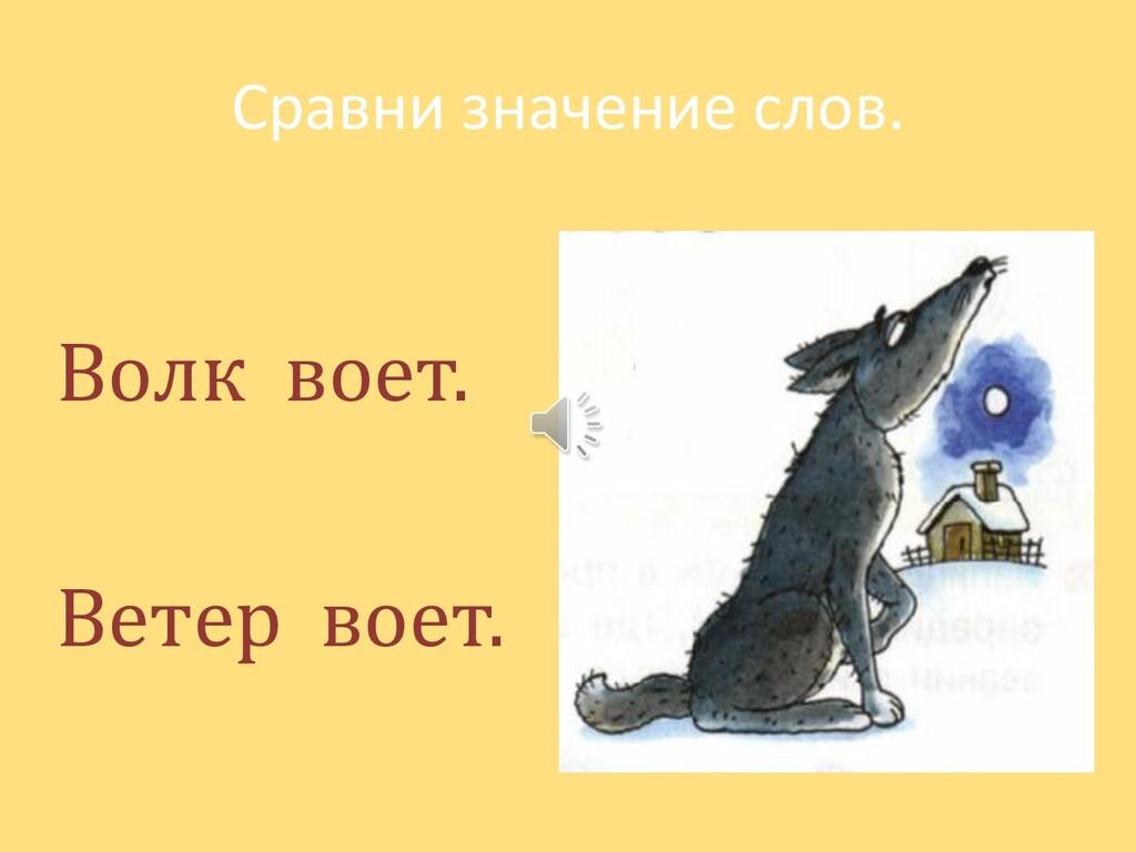 Сравни значение слов. Волк воет. Ветер воет.