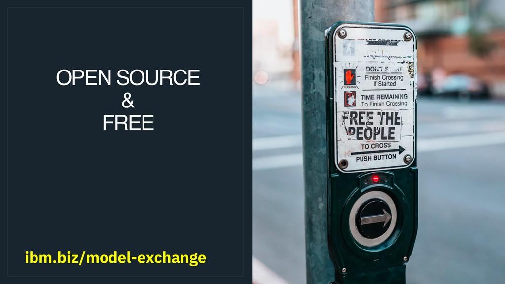 OPEN SOURCE & FREE ibm.biz/model-exchange