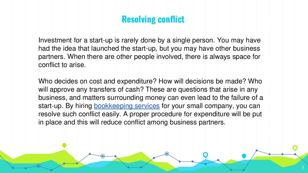 Resolving conflict Investment for a start-up is...
