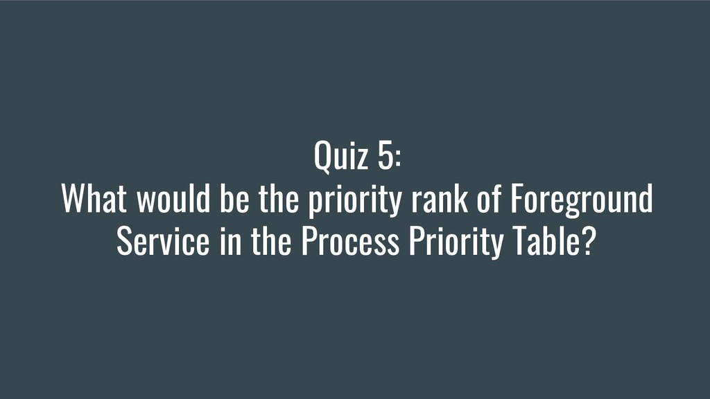 Quiz 5: What would be the priority rank of Fore...