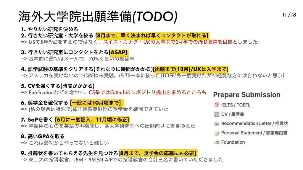 ւ֎େֶӃग़ئ४උ(TODO) 11 1. Γ͍ͨݚڀΛܾΊΔ 2. ߦ͖͍ͨݚڀࣨɾେֶΛ...