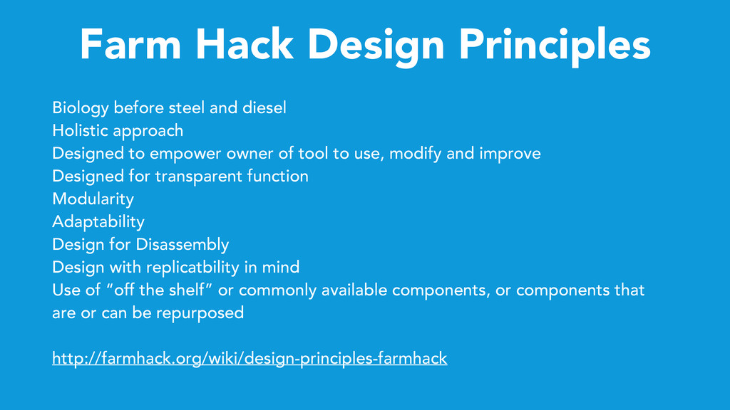 Farm Hack Design Principles Biology before stee...