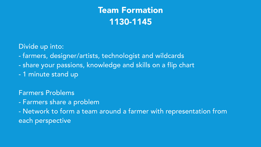 Team Formation 1130-1145 Divide up into: - farm...