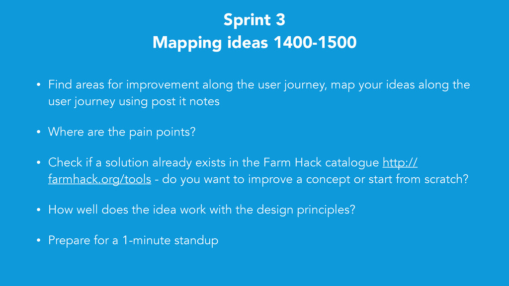Sprint 3 Mapping ideas 1400-1500 • Find areas f...