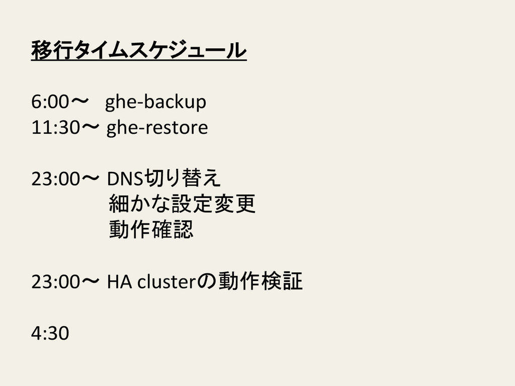 移行タイムスケジュール    6:00〜 ghe-‐backup  11:...