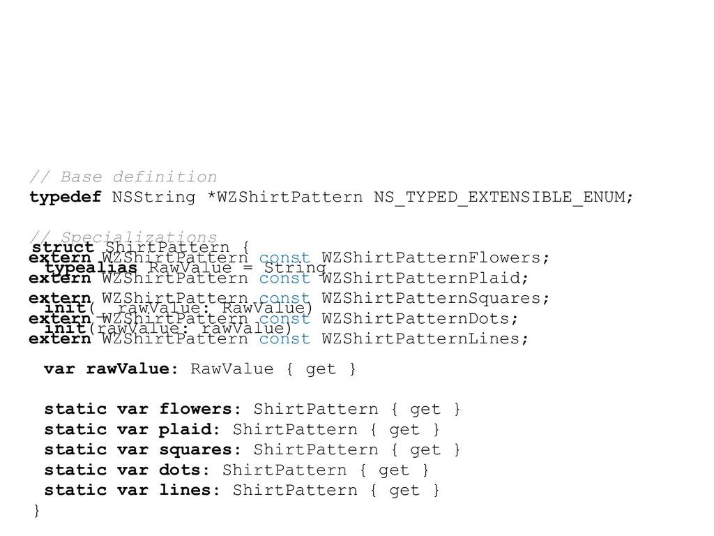 // Base definition typedef NSString *WZShirtPat...