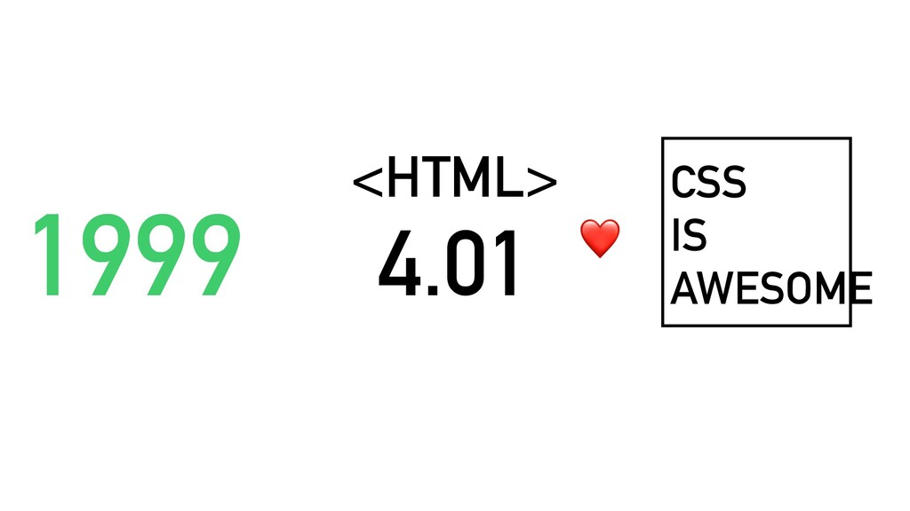 1999 <HTML> 4.01 CSS IS AWESOME ❤