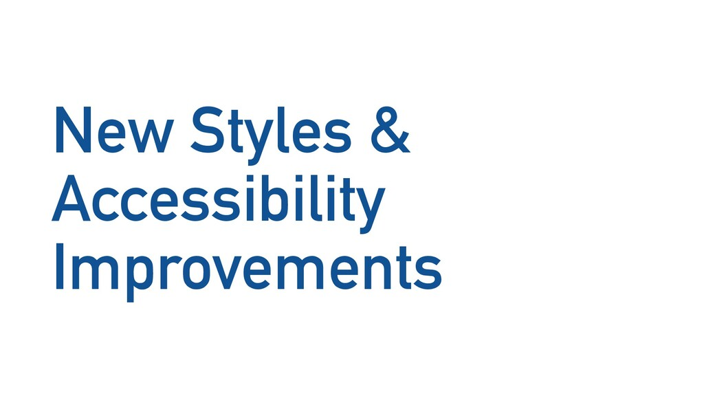 New Styles & Accessibility Improvements