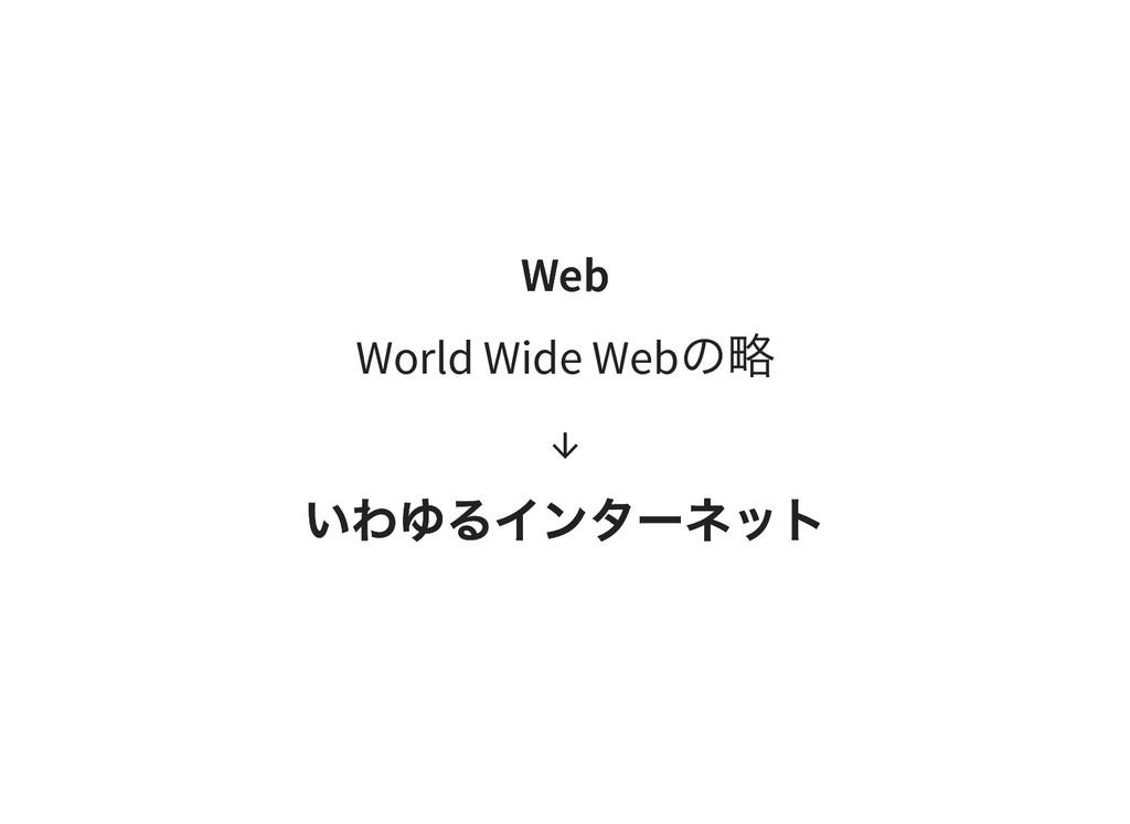Web Web World Wide Web の略 ↓ いわゆるインターネット いわゆるインタ...