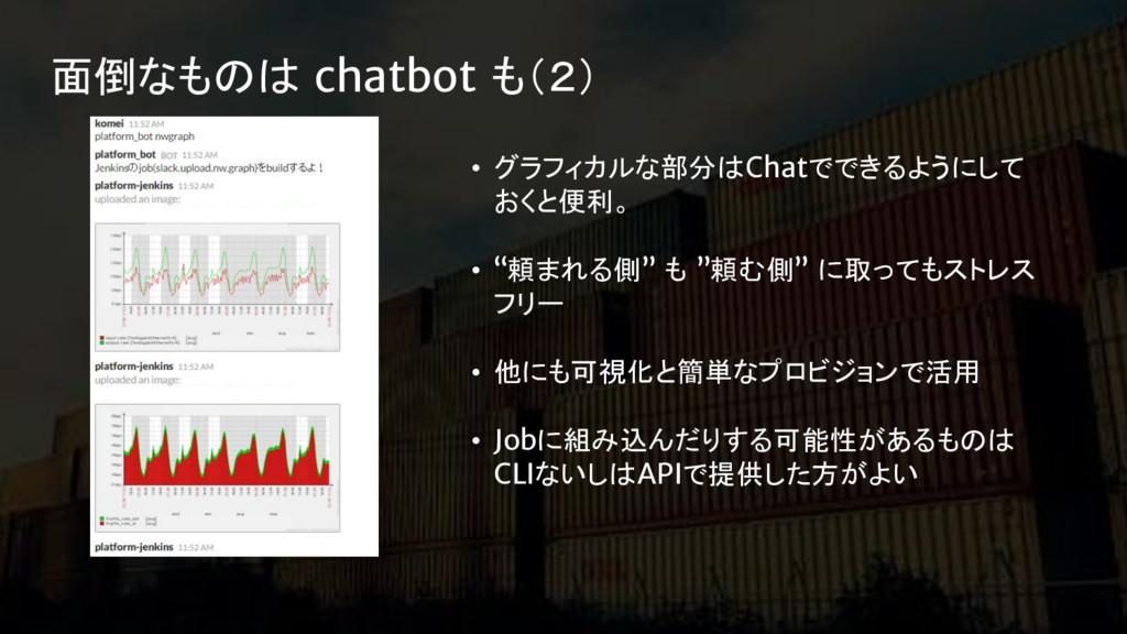 面倒なものは chatbot も(2) • グラフィカルな部分はChatでできるようにして お...