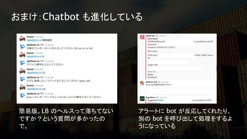 おまけ:Chatbot も進化している 簡易版。LB のヘルスって落ちてない ですか?という質...