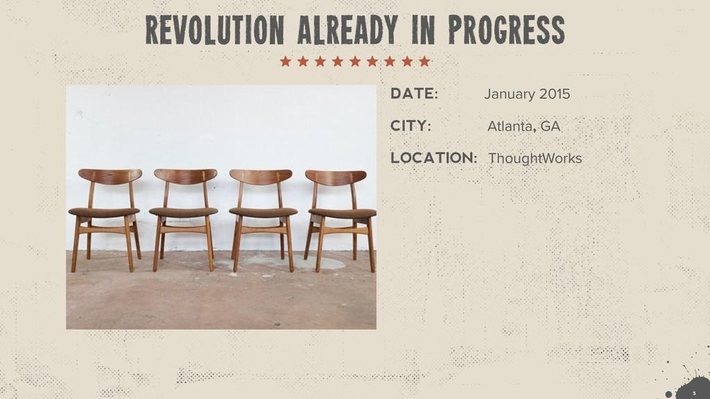 DATE: January 2015 !5 CITY: Atlanta, GA LOCATIO...