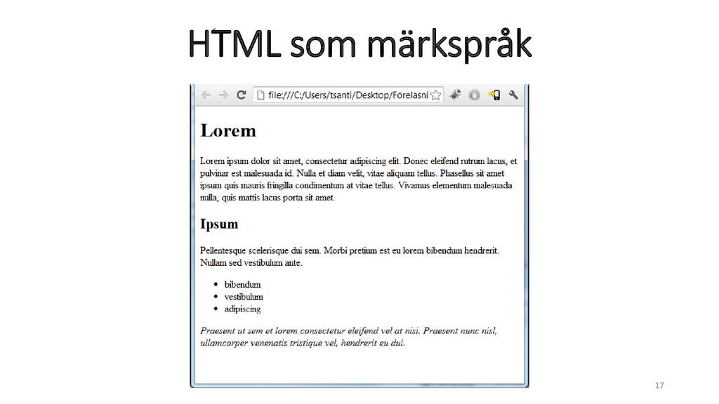HTML som märkspråk 17