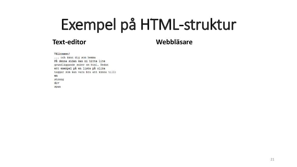 Exempel på HTML-struktur 21 Text-editor Webbläs...