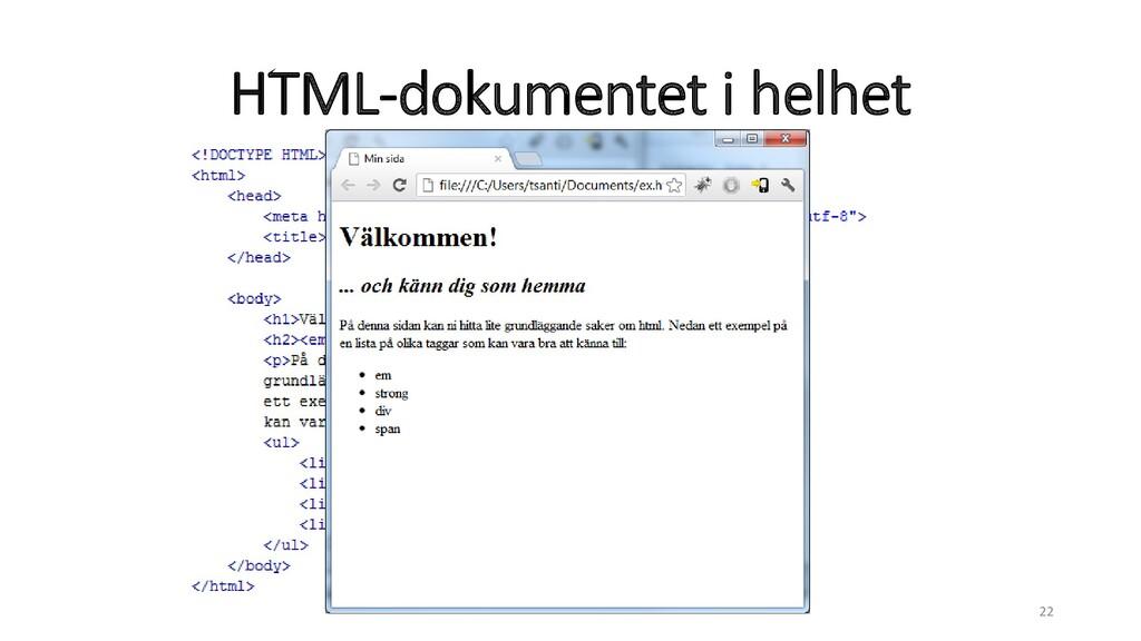HTML-dokumentet i helhet 22