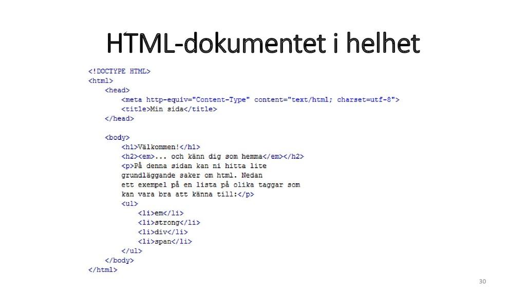 HTML-dokumentet i helhet 30