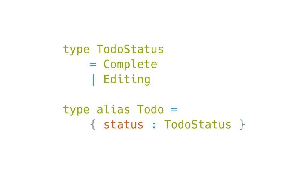 type TodoStatus = Complete | Editing type alias...