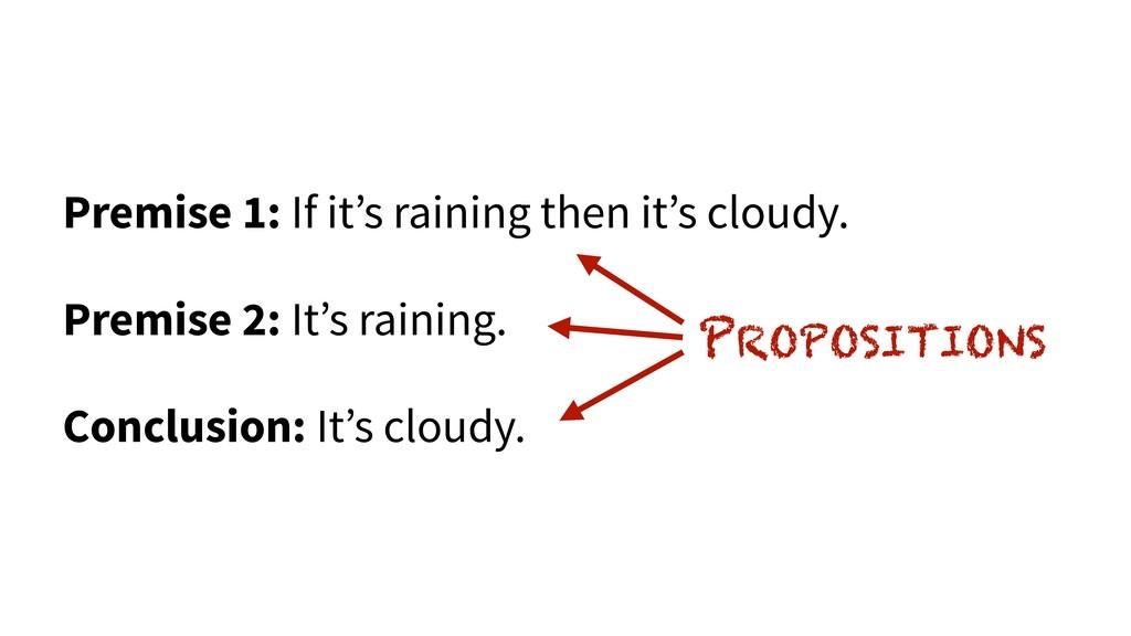 Premise 1: If it's raining then it's cloudy. Pr...