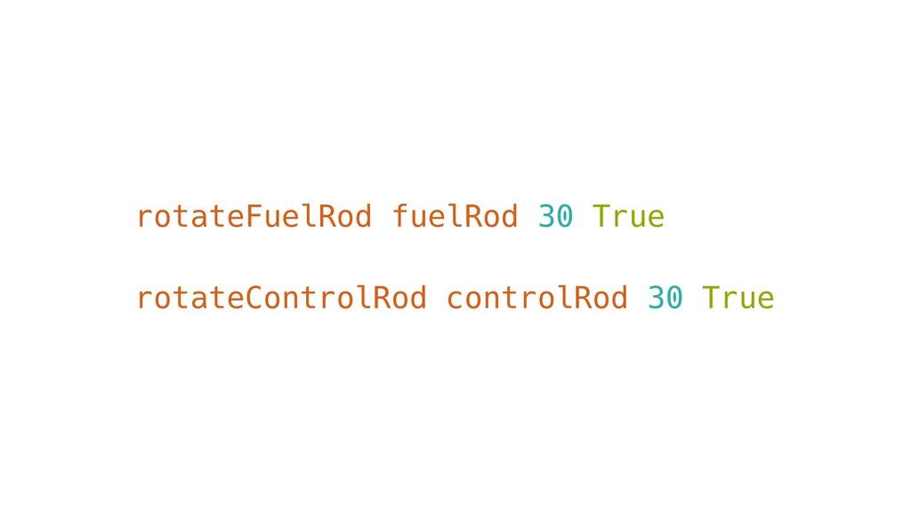 rotateFuelRod fuelRod 30 True rotateControlRod ...