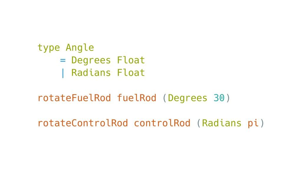 type Angle = Degrees Float | Radians Float rota...