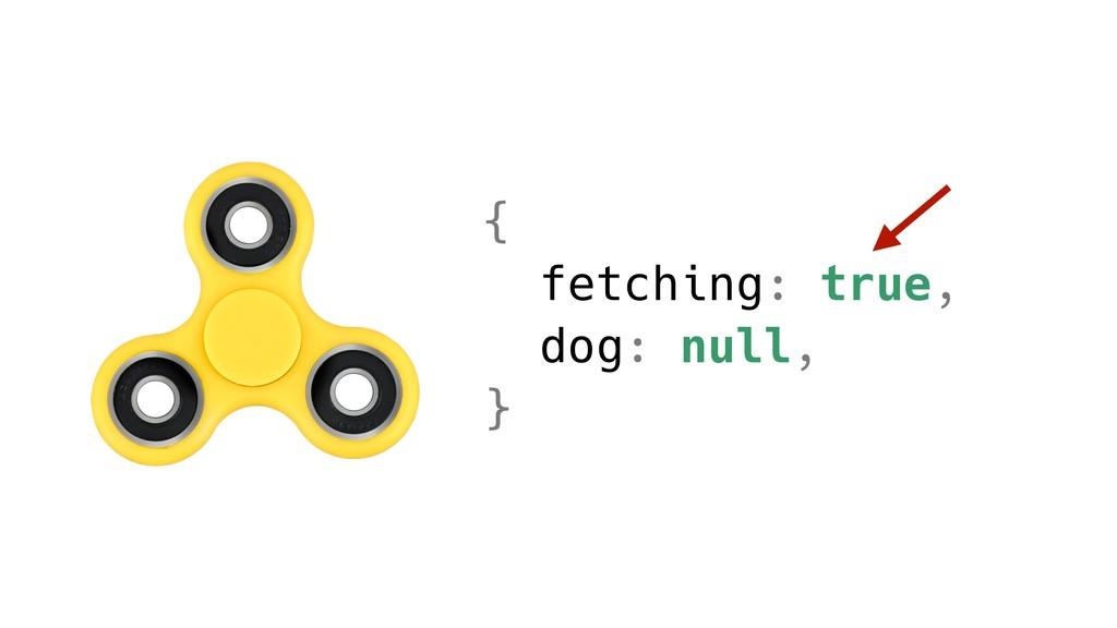 { fetching: true, dog: null, }