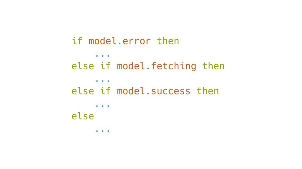 if model.error then ... else if model.fetching ...