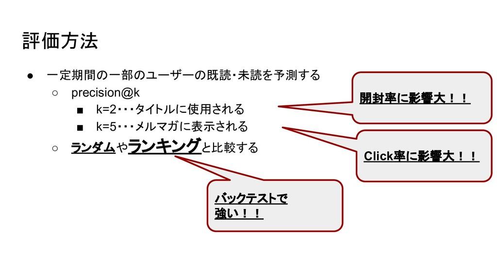 評価方法 ● 一定期間の一部のユーザーの既読・未読を予測する ○ precision@k ■ ...