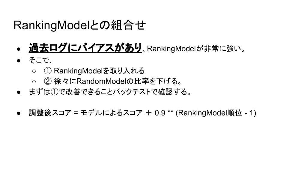 RankingModelとの組合せ ● 過去ログにバイアスがあり、RankingModelが非...