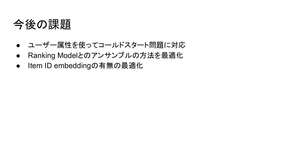 今後の課題 ● ユーザー属性を使ってコールドスタート問題に対応 ● Ranking Model...