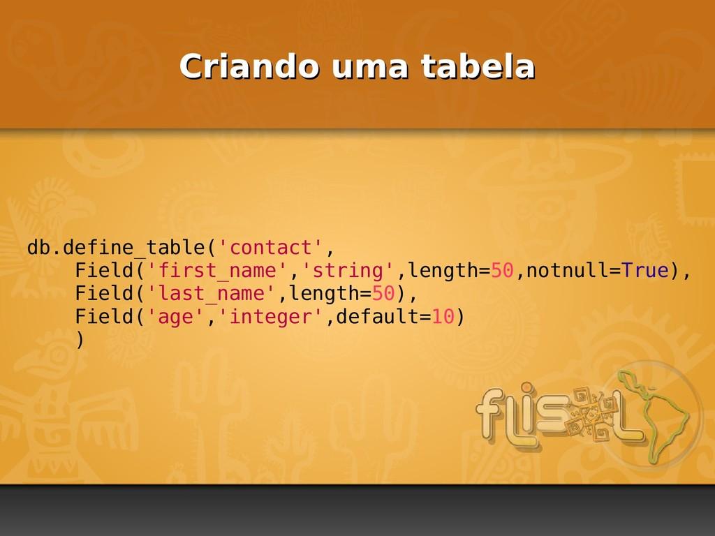 Criando uma tabela Criando uma tabela db.define...
