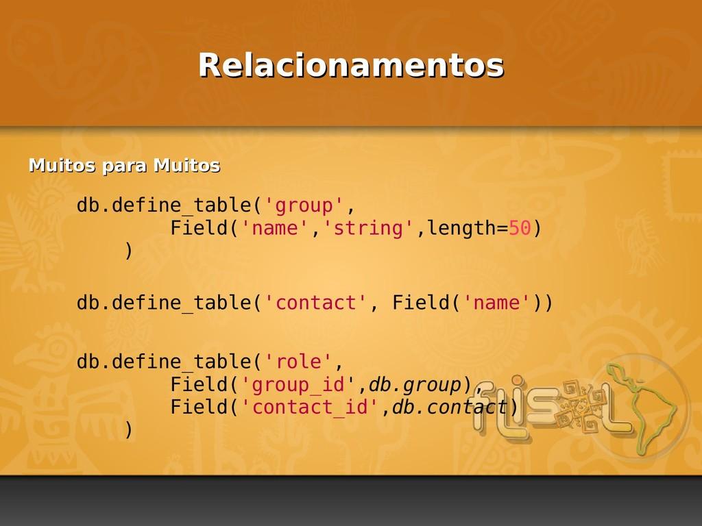 Relacionamentos Relacionamentos db.define_table...