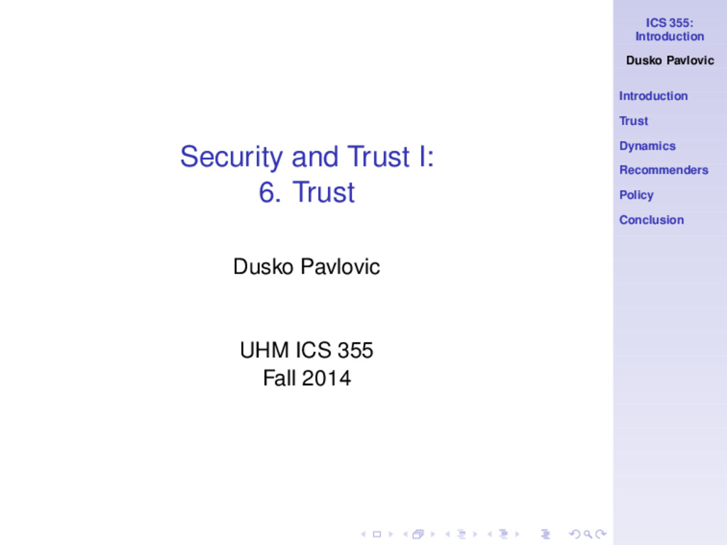 ICS 355: Introduction Dusko Pavlovic Introducti...