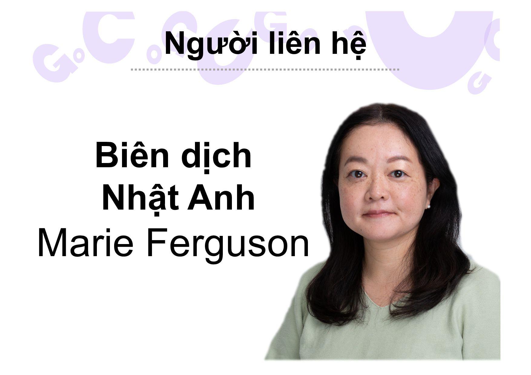 Người liên hệ Biên dịch Nhật Anh Marie Ferguson