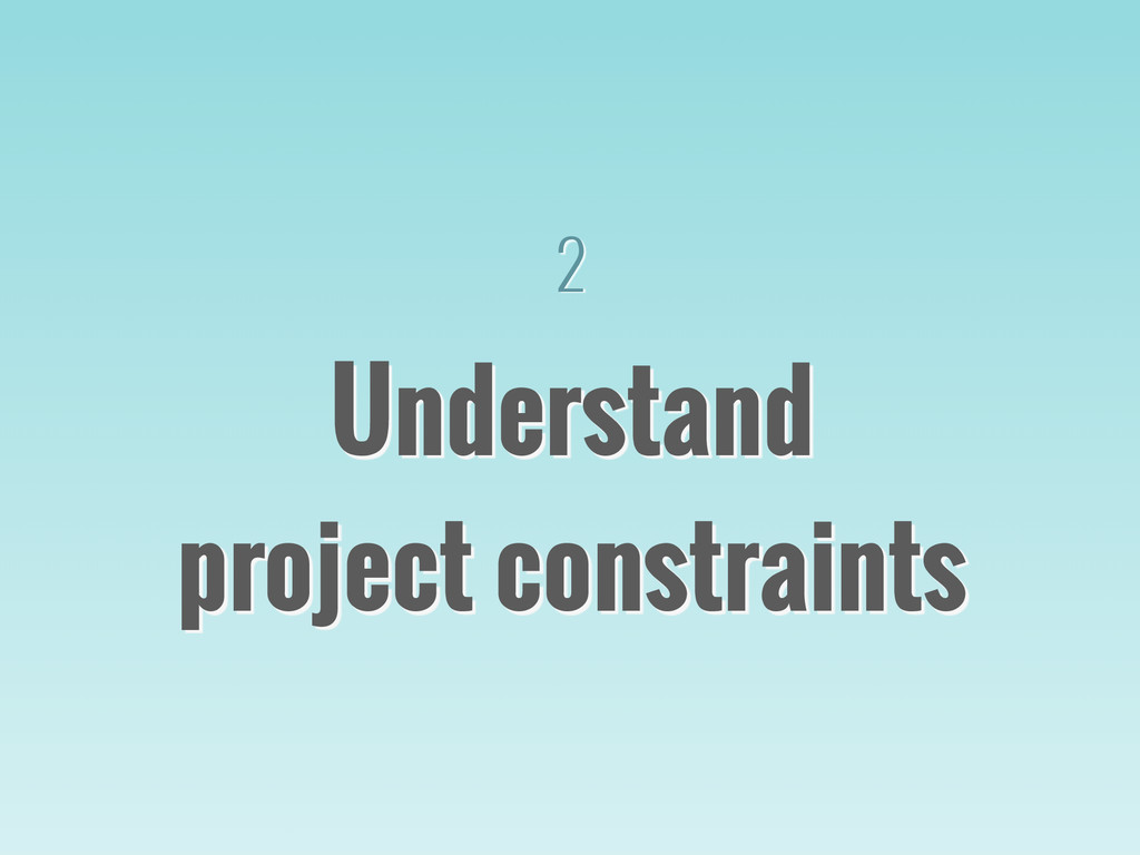 Understand project constraints 
